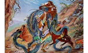 Rostam the hero fighting the Dragon in the Seven Quests of Rostam. Iranian miniature illustration from Shahnameh