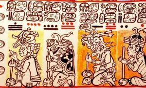 Tzolkin section in the Dresden Codex, starting from the day 1, Manik'.