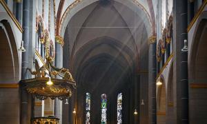 Sunbeams illuminating a church