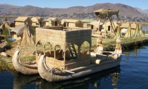 Picture of a reed boat at the Floating Islands, on Lake Titicaca.