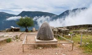 The famous Omphalos considered to be the center of the Universe for ancient Greeks, Delphi, Greece.