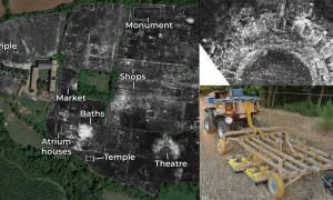 A slice of ground penetrating radar data from Falerii Novi, revealing the outlines of the town's buildings; Falerii Novi temple; GPR system.            Source: L. Verdonck / Antiquity Publications