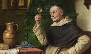 Detail of 'Monk tasting wine' by Josef Wagner-Höhenberg.