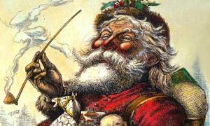 Santa with pipe and the knowing smile of ancient wisdom.