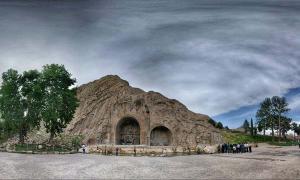 Taq-e Bostan, famous rock relief monument of Sassanid Persia