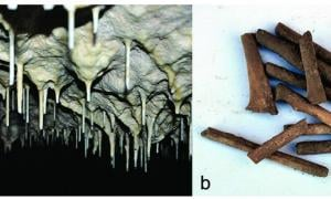 In Scaloria Cave stalactites on the cave ceiling and at right a mixture of stalactite fragments and human bone fragments, found during 2013 excavations