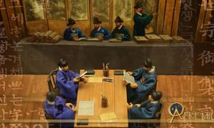 Museum diorama depicting scholars from the Joseon Dynasty (Public Domain), and script from the Hunmin Jeongeum Eonhae