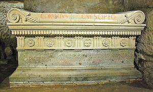 Replica of the Sarcophagus of Scipio Barbatus at the Scipios Tomb.