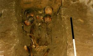 The six-headed chief was discovered within a medieval Scottish burial. Source: FAS Heritage