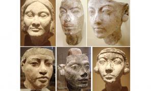 Plaster face of an older Amarna-era woman