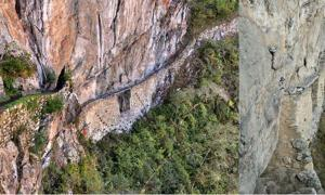 Path entrance to Machu Picchu. The bridge can be removed to prevent access by enemies.