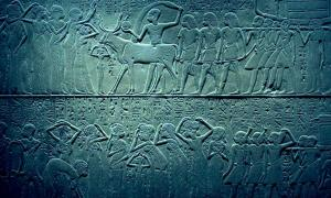 Relief of a funeral procession from the tomb of Merymery in Saqqara; design by Anand Balaji