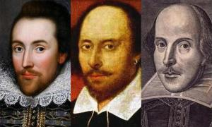 An image showing direct comparisons between the Shakespeare of the Cobbe Portrait, the Chandos Portrait and the Droeshout Engraving.            Source: Brice Stratford / Public domain
