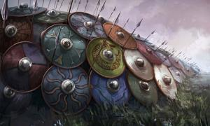 Illustration of a Viking shield wall (unknown artist)