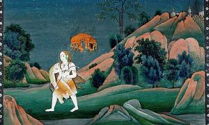 Shiva carrying Sati on his trident. (1800s).