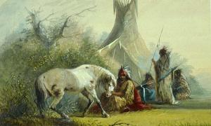 'Shoshone Indian and his Pet Horse' (1858-1860) by Alfred Jacob Miller.