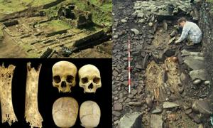 Isle of May monastery ruins (Peter Yeoman) top left; Skeletal remains on May (Peter Yeoman/ British Archaeology Magazine); The foot bones of a teenager with syphilis (left). An enlarged skull, possibly due to hydrocephaly (right). (Images: Marlo Willows/British Archaeology) bottom left.