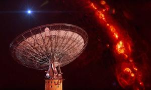 CSIRO's Parkes radio telescope with a representation of an FRB.