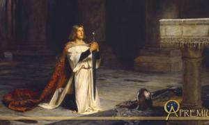 Gawain represented the perfect knight, as a fighter, a lover, and a religious devotee. (The Vigil by John Pettie, 1884)
