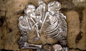 Adult couple in embrace from Siberia.