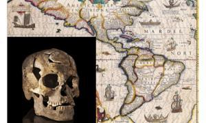 Map of the Americas circa 1619. Insert: Paleoamerican skull from Burial 1, Lapa do Santo site, Brazil.