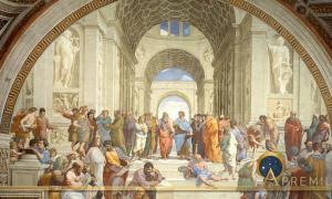 Plato and Aristotle in The School of Athens by Raffaello Sanzio da Urbino (Public Domain)