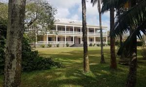 View of the Colonial home on Labourdonnais' estate reflecting the opulent lifestyle of French sugar cane plantation owners of the 18th century.
