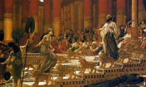 The visit of the Queen of Sheba to King Solomon.