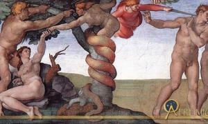 The Fall of Man depicted in the Sistine Chapel by Michelangelo