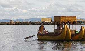 A traditional Uros boat