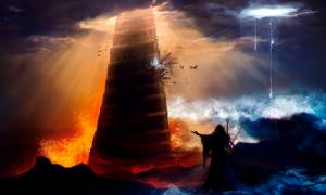 Sorcerer in hood standing in front of an ancient destructed Babylon tower with flood, fire & hurricane illustration