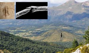 Main: view of the Els Trocs cave entrance in the Spanish Pyrenees located on the southern slope of a karst hill on the high plateau of Selvaplana; seen from the pass of the Puerto de las Aras. Source: H. Arcusa Magallón / Scientific Reports. Inset: Images of part of the skeletons damaged by blunt objects/arrows during the massacre. Source: T. Schuerch / G. Schulz / Scientific Reports