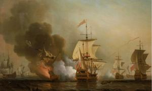 """Samuel Scott's painting titled """"Action off Cartagena, May 28, 1708,"""" executed before 1772."""