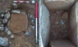 Latest Bronze Age grave found near Loch Ness, left with soil, right after excavation.