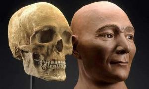 Reconstruction of the face of the Spirit Cave mummy.