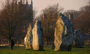 Stones in the South Circle viewed from the south-east quadrant bank. The tower of St James church is in the background.