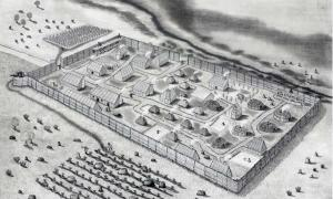 A conjectural drawing of the St. Mary's Fort settlement in Maryland in 1634.             Source: Jeffrey R. Parno / Historic St. Mary's City