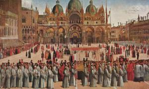 Gentile Bellini: Procession in St. Mark's Square (1496). Gallerie dell'Accademia – Venice.