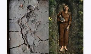 Left: The baby was found tucked under the arm of a woman in a grave in Nieuwegein, the Netherlands. Right: An artist's impression of the grave.