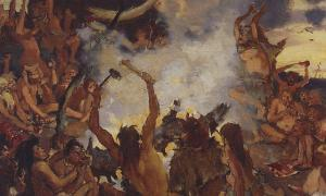 Painting 'Stone Age: the feast.' (1883) By Viktor M. Vasnetsov.