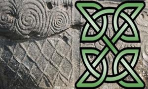 Stone at Newgrange and Celtic with X symbol