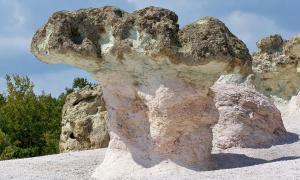 Stone 'mushroom' formations in Bulgaria.