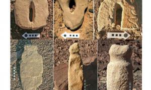 Stone worked in the shape of vulvas (top) and penises from neolithic cult sites in the Eilat Mountains