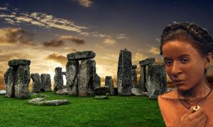 Stonehenge (Albo /Adobe Stock) and the reconstructed face of Whitehawk woman from the Neolithic period.