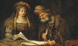 'Esther and Mordechai writing letters to the Jews' (1675) by Aert de Gelder.