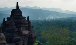 Borobudur Temple is surrounded by mountains nearby