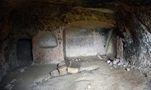A chamber in Belağası Underground City in Gesi district, Kayseri Province, Turkey
