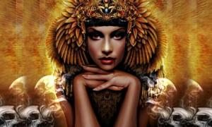 Detail of an artistic representation of an Egyptian vampire queen. Before the Egyptians, there were Sumerian vampires.