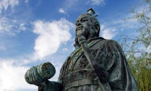 Statue of Sun Tzu in Yurihama, Tottori, in Japan.