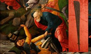 A depiction of Peter using his sword to strike Malchus (circa 1520, Musée des Beaux-Arts de Dijon).